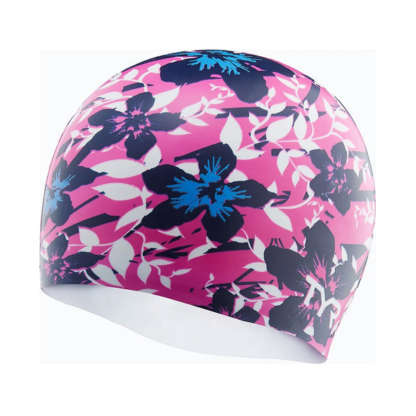 TYR - Hibiscus Silicone Swim Hat - Pink/Blue