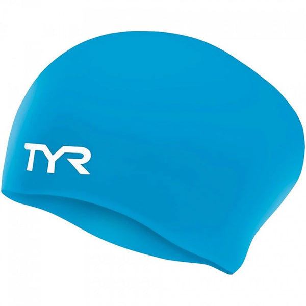 TYR - Long Hair Silicone Swim Hat - Blue