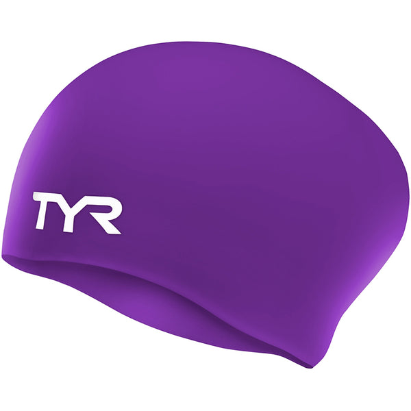 TYR - Long Hair Silicone Swim Hat - Purple