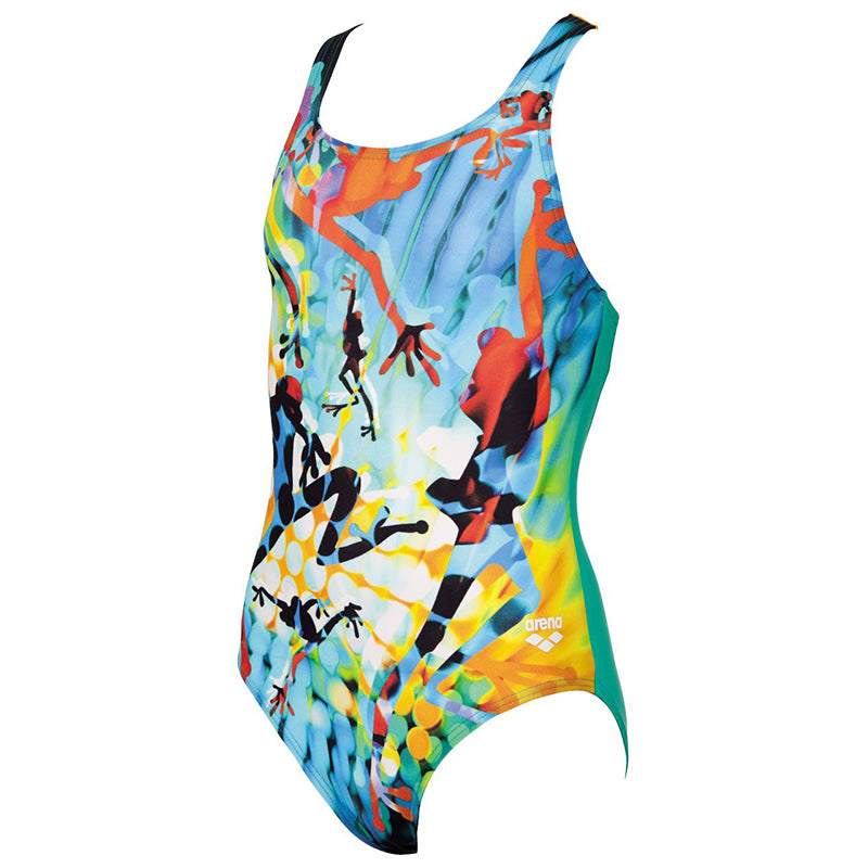Arena - Brasil Pro Back Junior Swimsuit - Green/Orange
