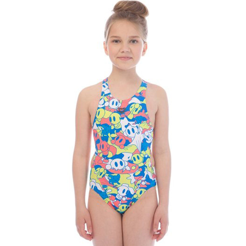 Arena - Camo Kun Open Back Girls Swimsuit - Royal