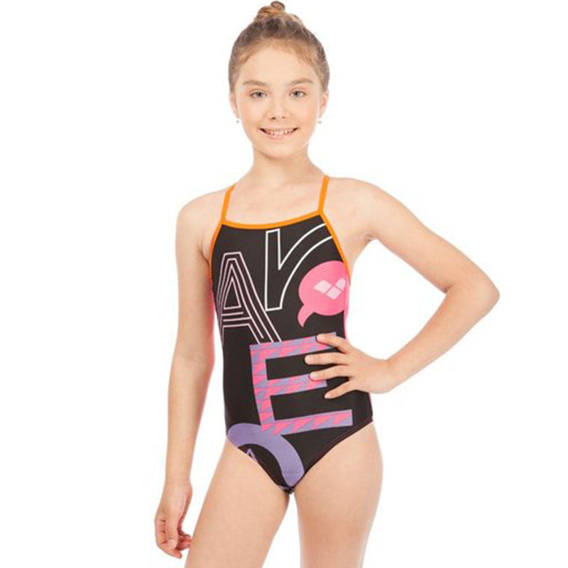 Arena - Folk Light Drop Back Junior Swimsuit - Black/Mango