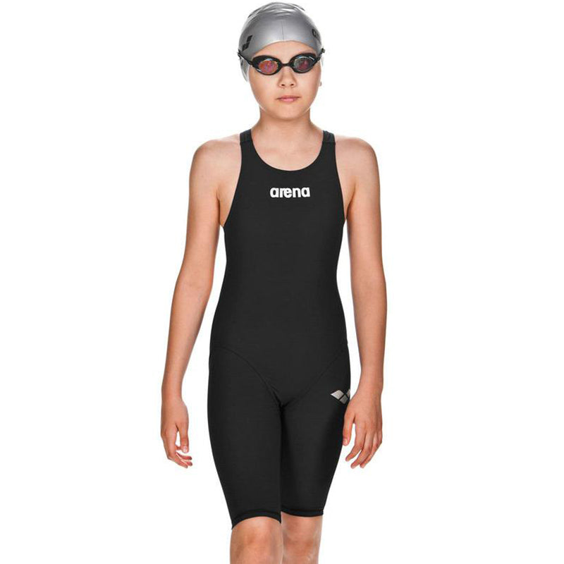 Arena - Girls Powerskin ST Junior Open Back Short Leg Suit - Black