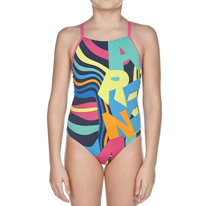 Arena - Kaleidoscope Drop Back Junior Swimsuit - Navy/Rose
