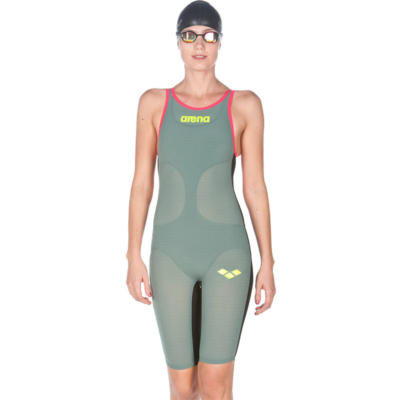 Arena - Powerskin Carbon-Air Full Body Short Leg Open Back - Dark Green/Red
