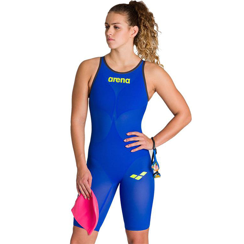 Arena - Women's Powerskin Carbon-AIR² Open Back - Blue/Grey/Yellow