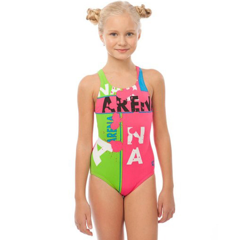 Arena - Woodblock Pro Back Girls Swimsuit - Rose