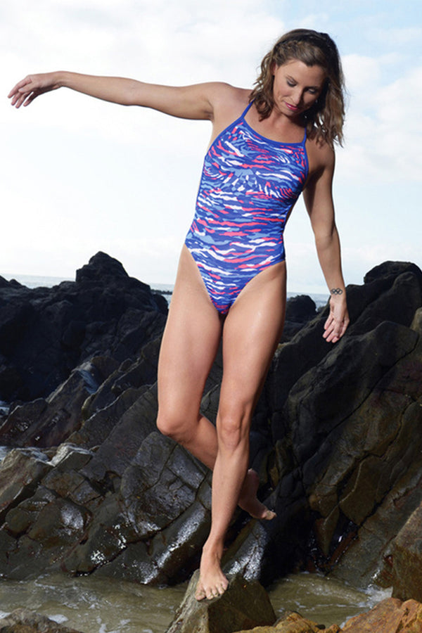 Dolfin - Bellas Prowler Blue Cross Back Swimsuit