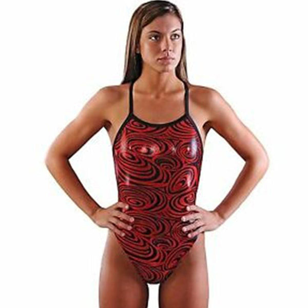 Dolfin - Metallics Disco V-2 Back Ladies One Piece (Ruby Red)