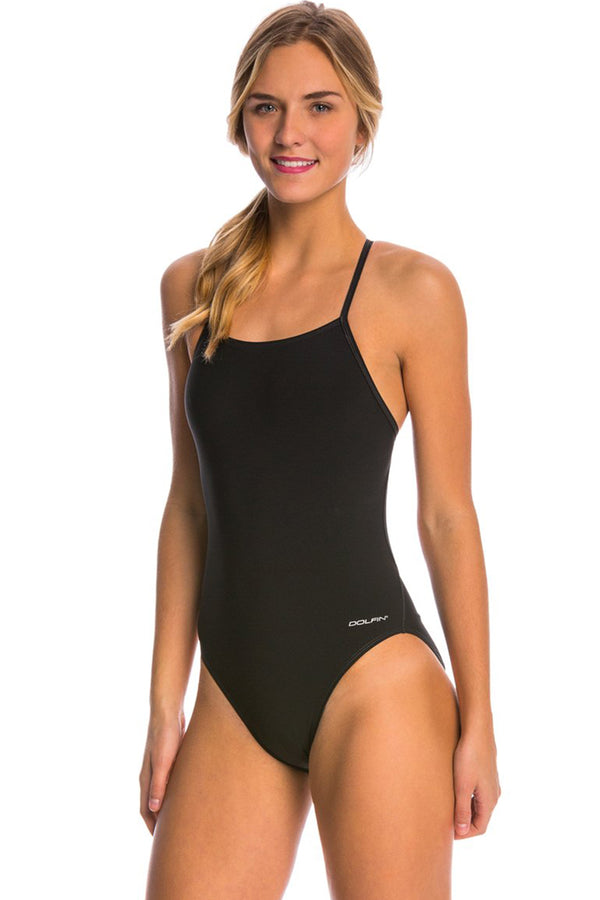 Dolfin - Graphlite Solid Black Cross Back One Piece Swimsuit