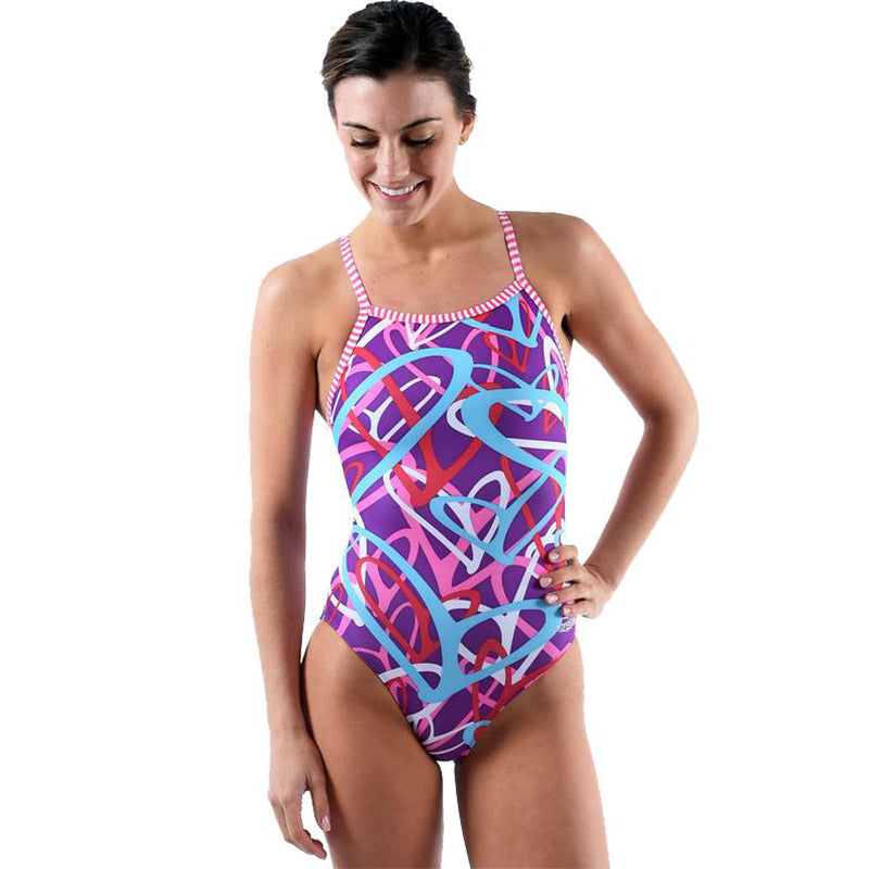 Dolfin Uglies - Crazy Hearts V-2 Back One Piece Swimsuit