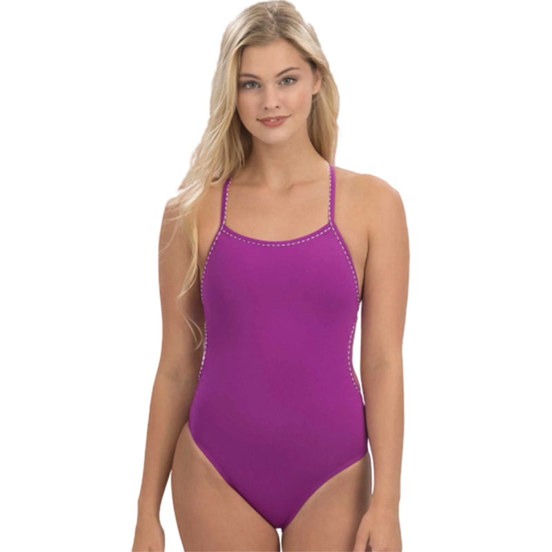 Dolfin Uglies - Revibe Purple Solid Tie Back One Piece Swimsuit