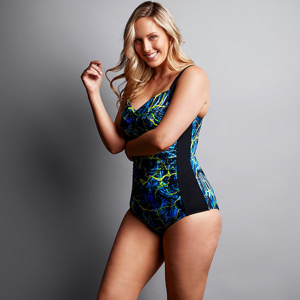 Funkita - Midnight Marble - Ladies Ruched One Piece