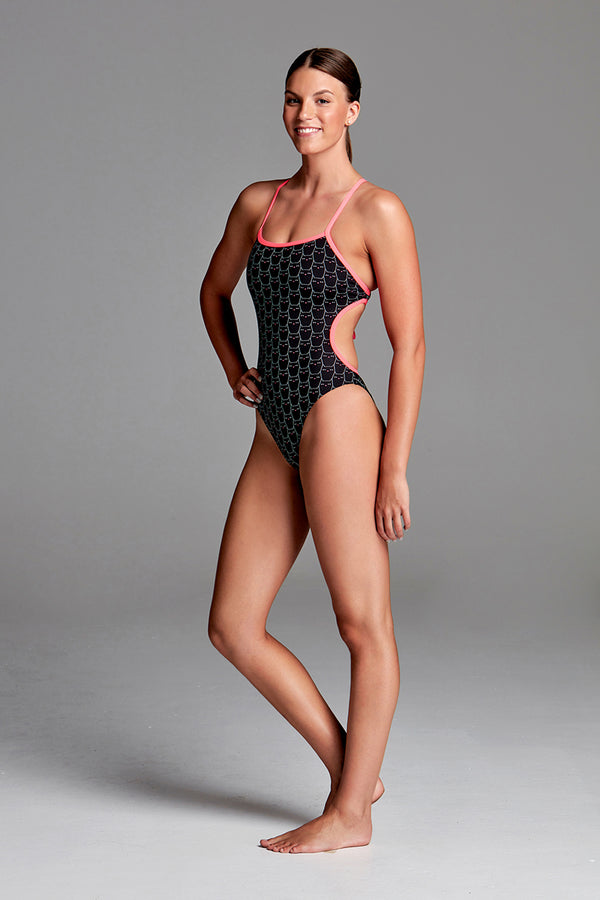 Funkita - Night Cat - Ladies Cut Away Tie Back One Piece