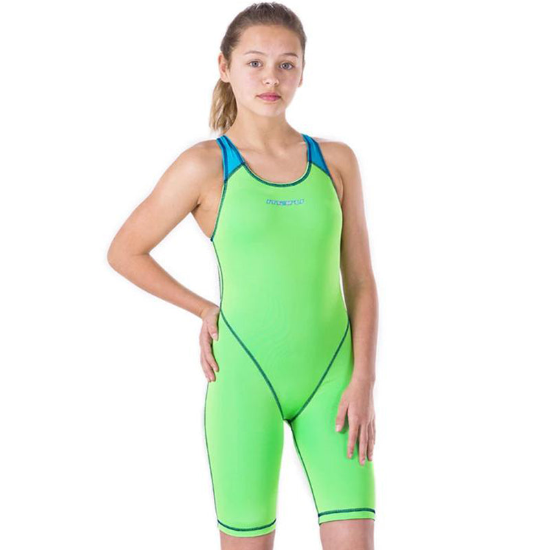Maru Girls Competition Swimwear - XTS Junior Pro Legs Lime and Turquoise