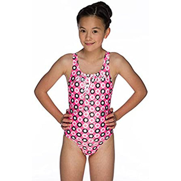 Maru - Holographic Sparkle Auto Back Girls Swimsuit - Pink
