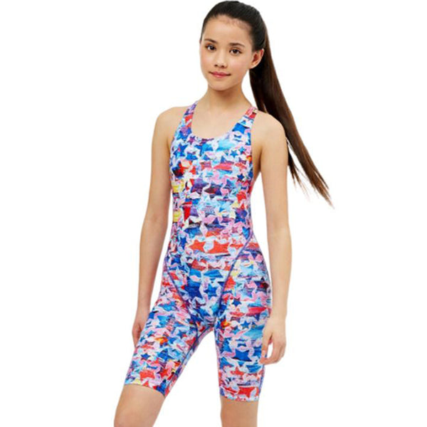 Maru Girls Swimwear - Lucky Star Pacer Legsuit - Blue/Red