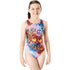 Maru - Peace Sparkle Rave Back Girls Swimsuit - Blue/Silver