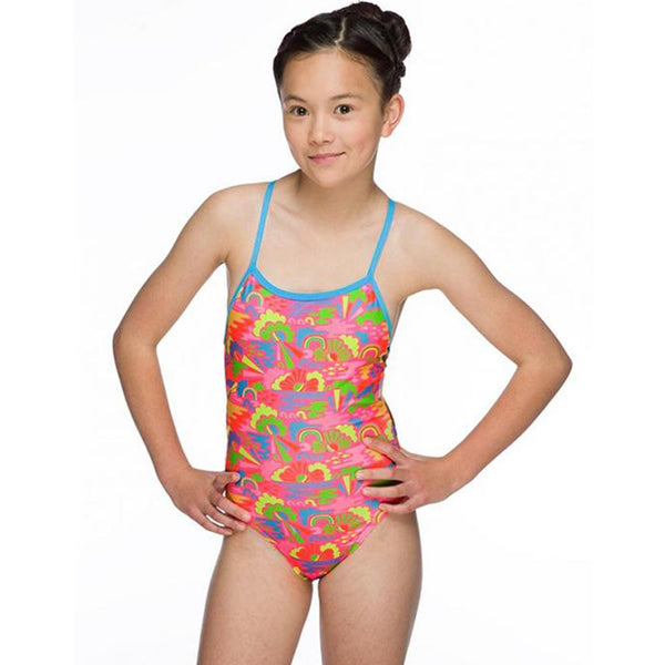 Maru - Happy Days Pacer Aero Back Girls Swimsuit - Pink