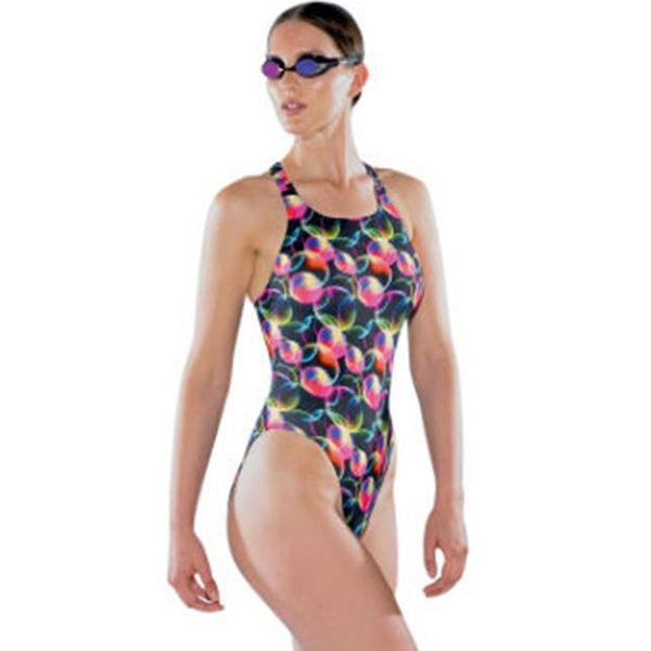Maru - Fizzy Pacer Vault Back Ladies Swimsuit - Black/Pink
