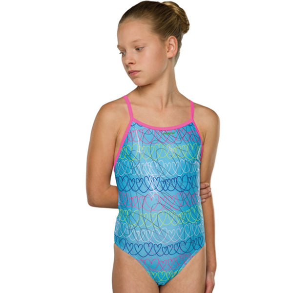 Maru - Loveheart Sparkle Fly Back Girls Swimsuit