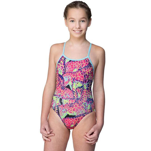 Maru - Neon Giraffe Pacer Aero Back Girls Swimsuit - Pink