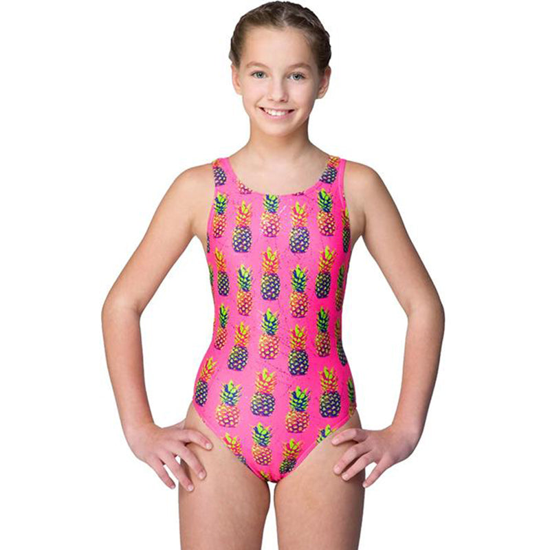 Maru Pineapple Sparkle Auto Back Girls Swimsuit Pink