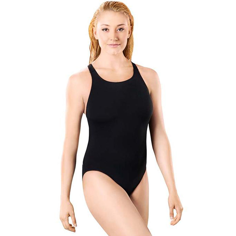 Maru - Solid Pacer Open Back Ladies Swimsuit - Black