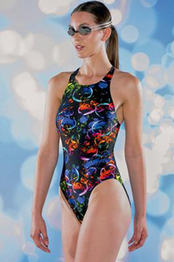 Maru - Sphere Tek Back Ladies Swimsuit - Black/Multi