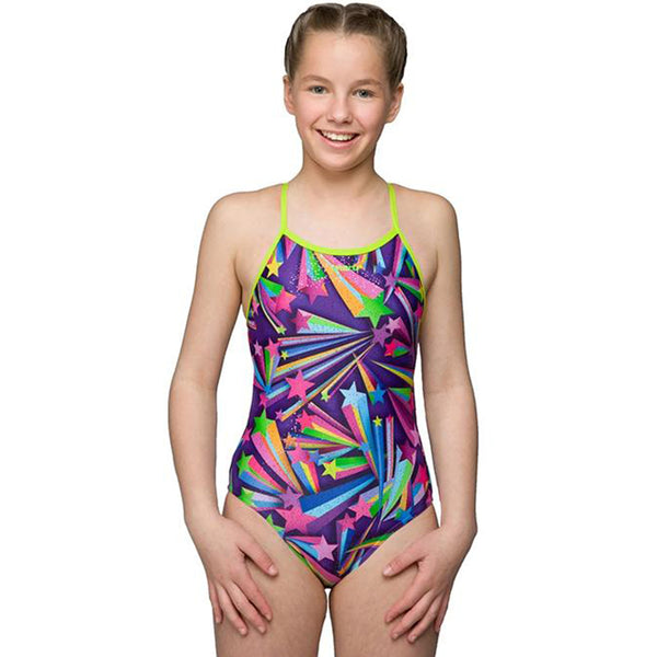 Maru - Girls Starburst Spangle Sparkle Fly Back Swimsuit- Purple