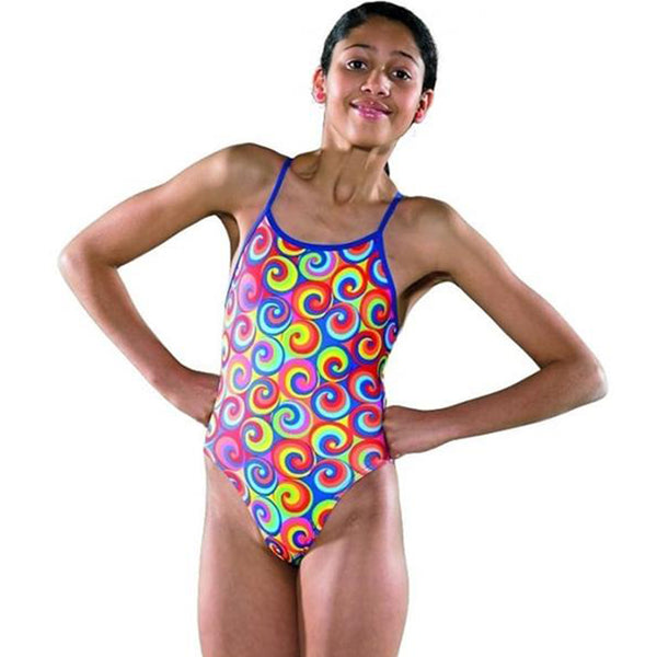 Maru - Swirl Pacer Aero Back Girls Swimsuit - Multi/Blue