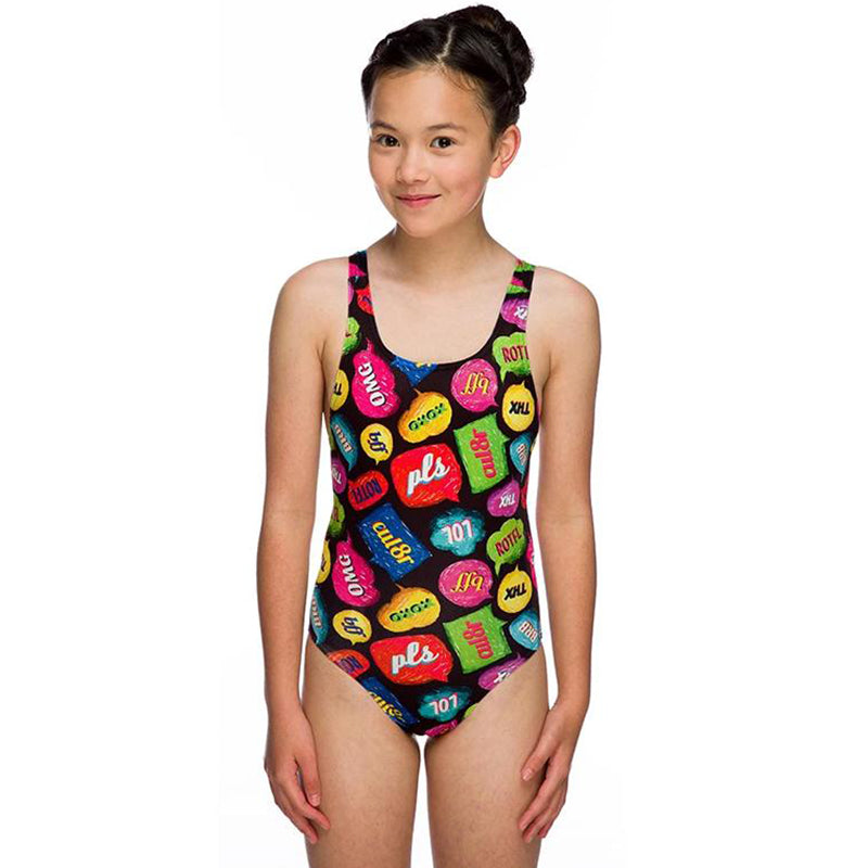 Maru - Txt Pacer Auto Back Girls Swimsuit - Multi