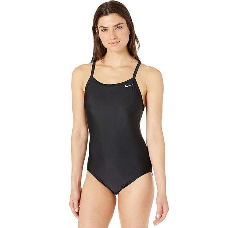 Nike - Swim Poly Core Solid Racerback One-Piece Swimsuit (Black)