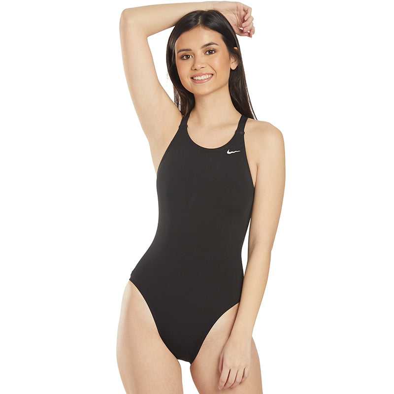 Nike - Swim Poly Solid Hydrastrong Fastback One-Piece Swimsuit (Black)
