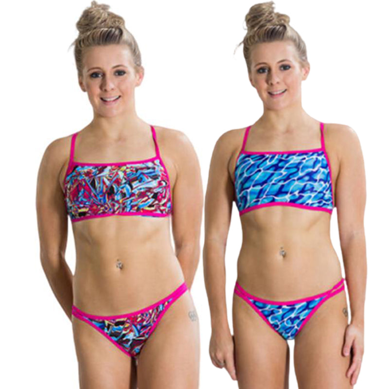 Speedo - Flipturns Flip Reverse Two Piece Swimsuit - Pink/Blue