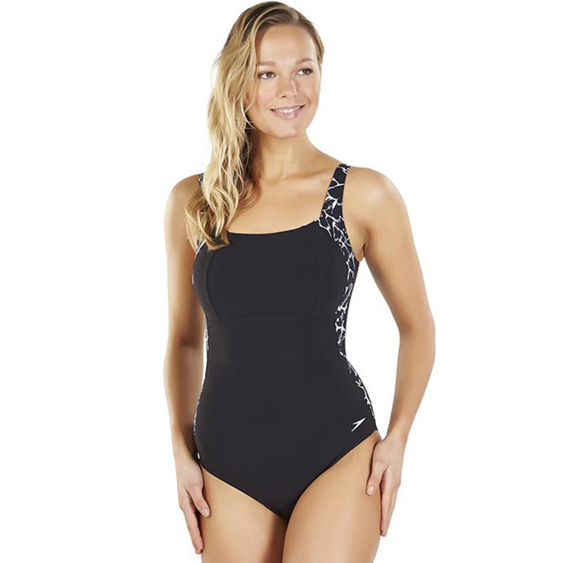 Speedo - Lunalustre Printed One Piece Swimsuit - Black/White