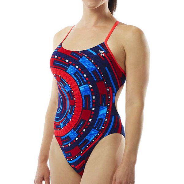 TYR - Anik Cutoutfit Ladies Swimsuit - Red/White/Blue