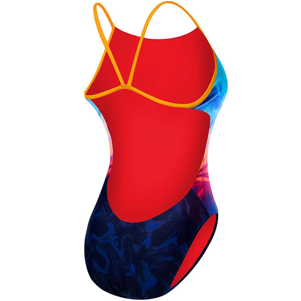 TYR - Fumoso Cutoutfit Ladies Swimsuit - Blue/Coral