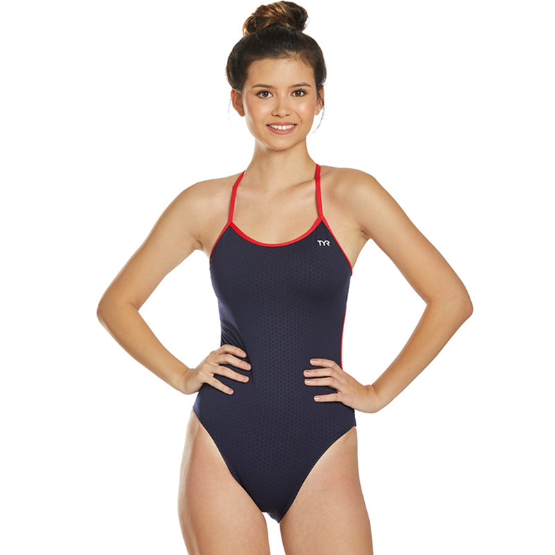 TYR - Hexa Cut Out Fit Ladies Swimsuit - Navy/Red