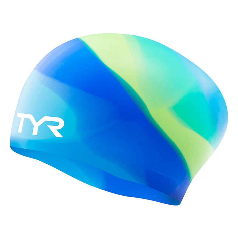 TYR - Junior Tie Dye Long Hair Silicone Swim Cap - Blue/Green