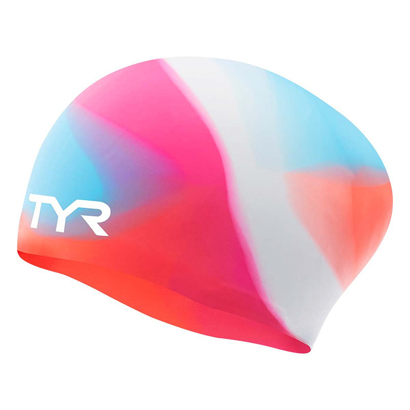 TYR - Junior Tie Dye Long Hair Silicone Swim Cap - Pink/Blue/Orange