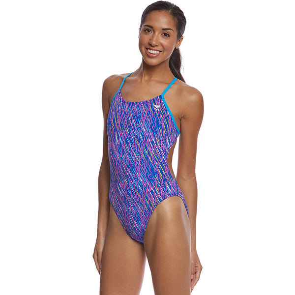 TYR - Electro Cutoutfit Ladies Swimsuit - Navy/Multi