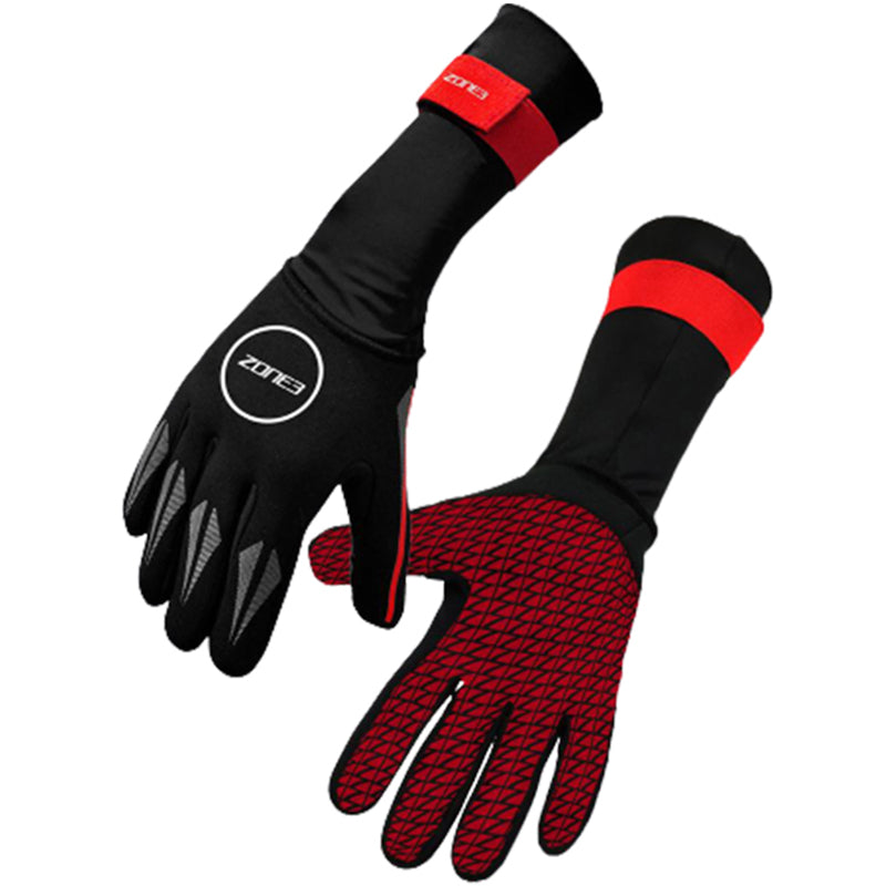 Zone3 - Neoprene Swim Gloves - Black/Red
