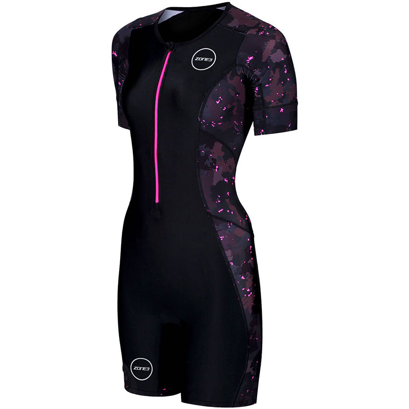 Zone3 - Women's Activate Plus Short Sleeve Trisuit Stealth Camo - Black/Grey/Pink