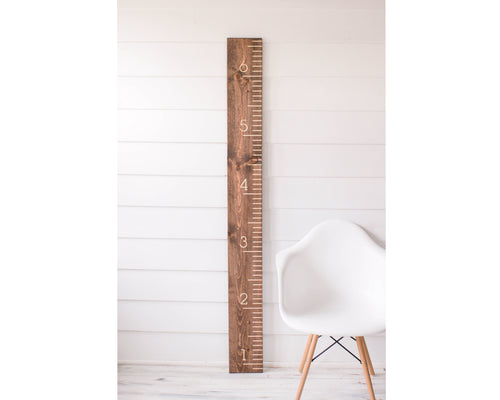 Walnut Carved Growth Chart - Oversized Wooden Ruler - Growth Chart Ruler - Family Height chart - Baby Growth Chart - Baby Gift