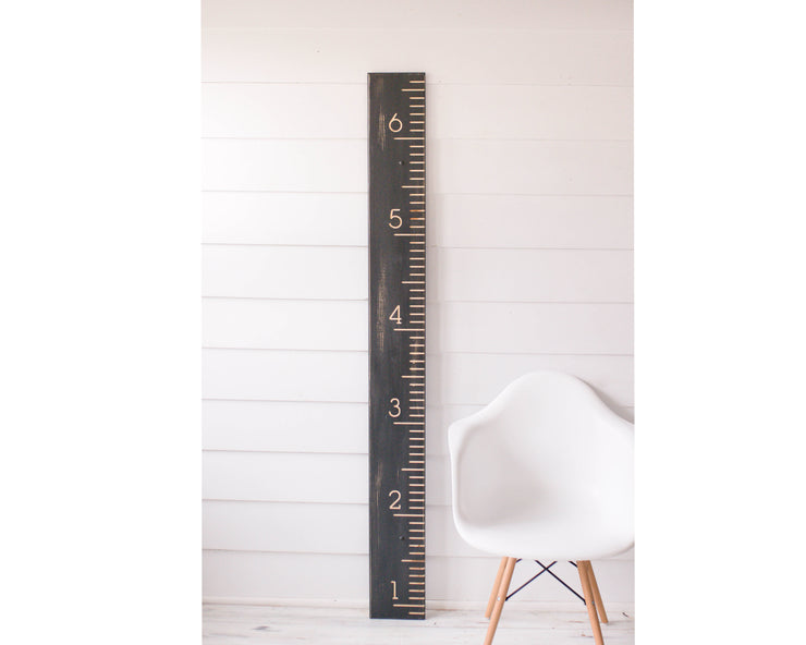 Rustic Black Carved Growth Chart - Height Chart
