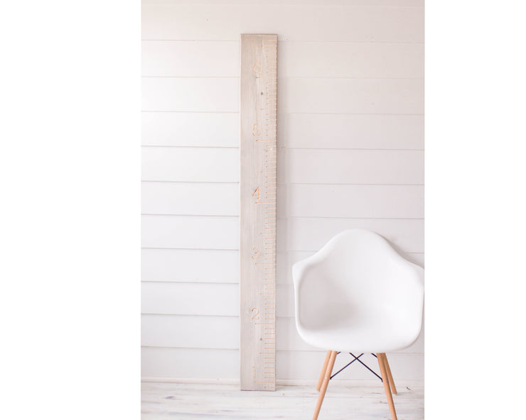 Weathered White Kids Height Ruler - Family Height chart - Oversized Ruler