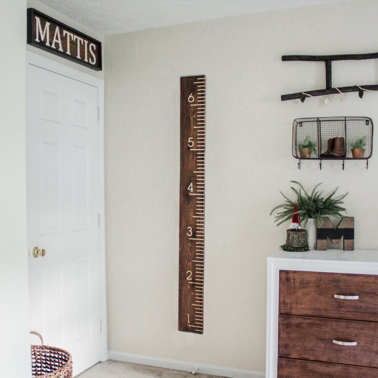 Check out our coordinating decor- growth chart, name sign