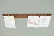 kids artwork holder, modern kids art display, kids artwork display, walnut kids art display