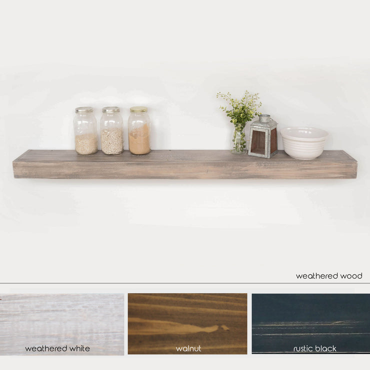 extra long extra wide floating shelf. weathered wood floating shelf. rustic chunky shelf.  multiple color offerings floating shelf.